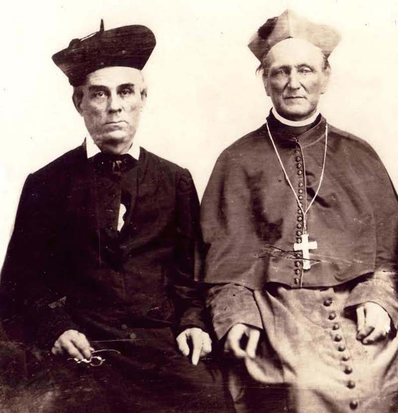 Very Rev. Thomas Roche Butler, pastor of St Mary's from 1851 to 1867, with the first Bishop of the Diocese of Covington, Right Rev. George Aloysius Carrell, about 1855. With the establishment of the Diocese of Covington in 1853, Father Butler's Eighth Street construction project became the first St. Mary's Cathedral. [Provided]