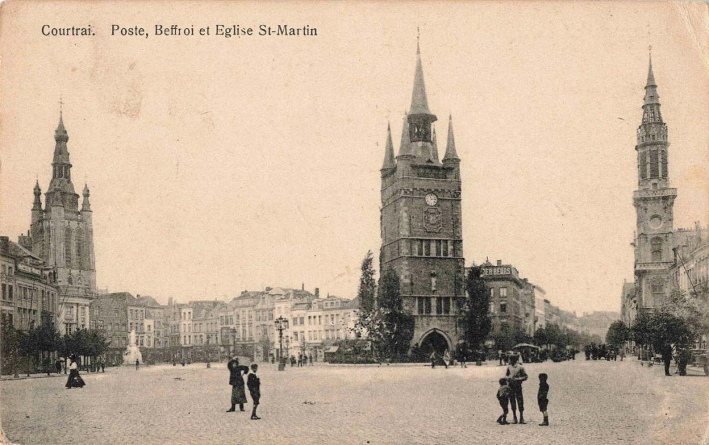 A ca. 1900 postcard of Courtrai, West Flanders, looking much the same as Camillus Maes would have known it growing up. St. Martin's Church, where he was baptized and served as an altar boy, is the church on the left in this photo. Provided.